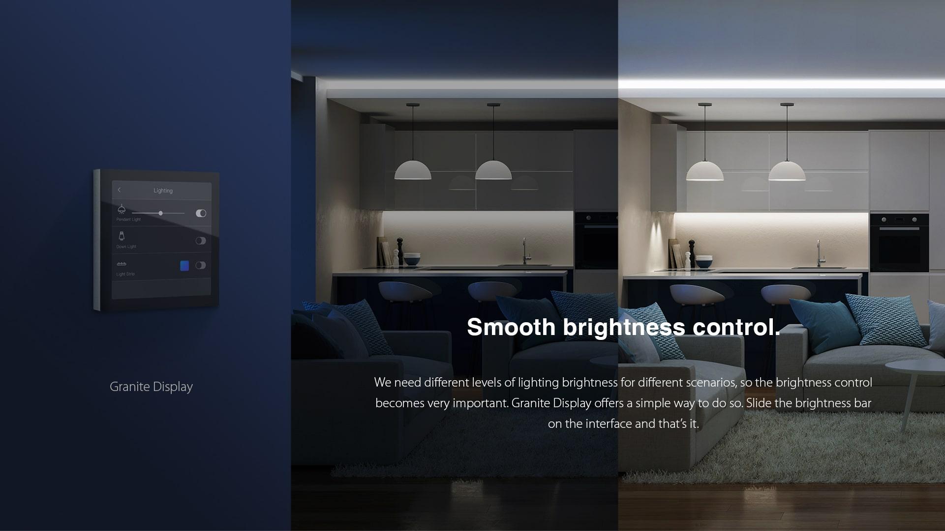 کنترل هوشمند سیستم روشنایی در پنل گراینیتی و لمسی ترموستاتیک HDL
