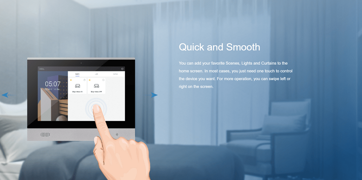 عملکرد سریع و روان تاچ پنل 10 اینچ HDL برای خانههای هوشمند